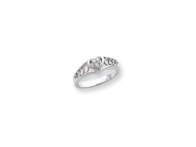 14k White Gold Polished .05ct. Diamond Heart Ring Mounting