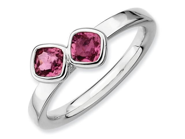 Sterling Silver Stackable Expressions Db Cushion Cut Pink Tourm. Ring