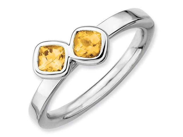 Sterling Silver Stackable Expressions Db Cushion Cut Citrine Ring