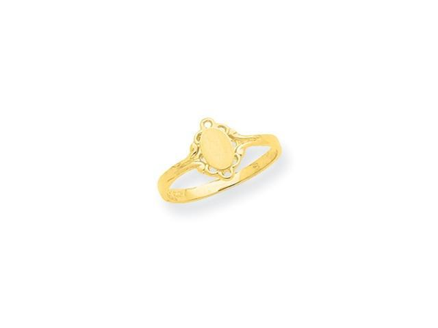 14K Filigree Oval Satin Center Baby Signet Ring