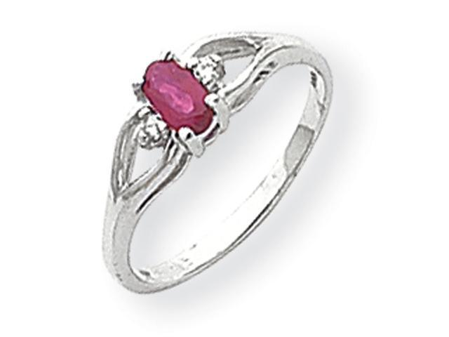 14k White Gold 5x3mm Oval Ruby & AA Diamond Ring Diamond quality AA (I1 clarity, G-I color)