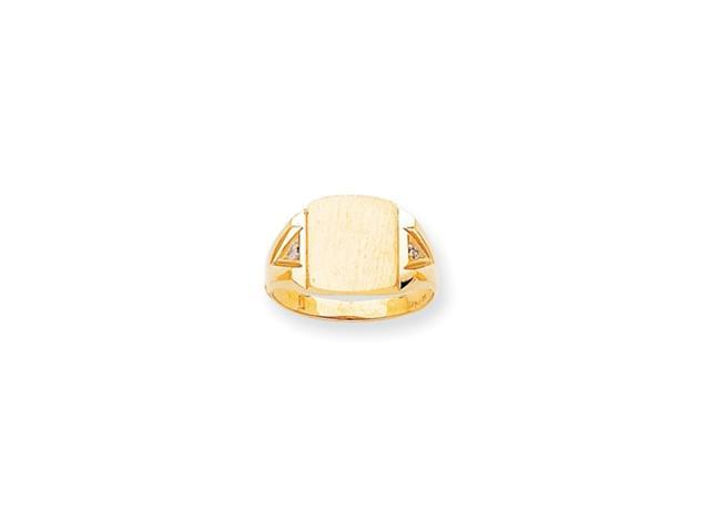 14k Polished Squared Top Hollow Back 12.6x11 Signet Ring Mounting