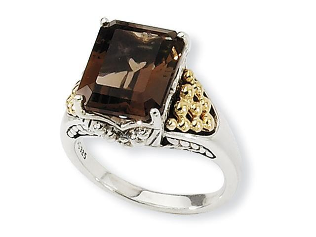 Sterling Silver w/14k 4.00Smokey Quartz Ring