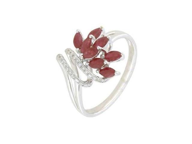 14K White Gold Ruby Diamnd Ring Diamond quality AA (I1-I2 clarity, G-I color)