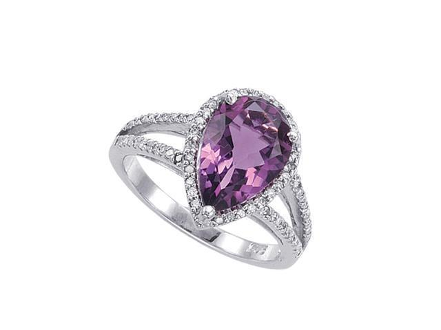 Alesandro Menegati Sterling Silver Ring with Diamonds and Amethyst