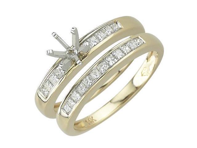 14K Yellow Gold Diamond Semi-Mount (SI2-I1 clarity, G-I color)