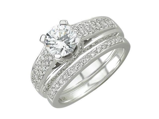 14K White Gold Diamond Bridal Set Ring (SI2-I1 clarity, G-I color)