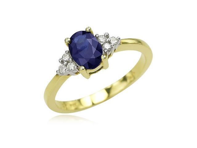 14K Yellow Gold Oval Sapphire & Round Diamond Cluster Ring Diamond quality A (I1-I2 clarity, H-I color)