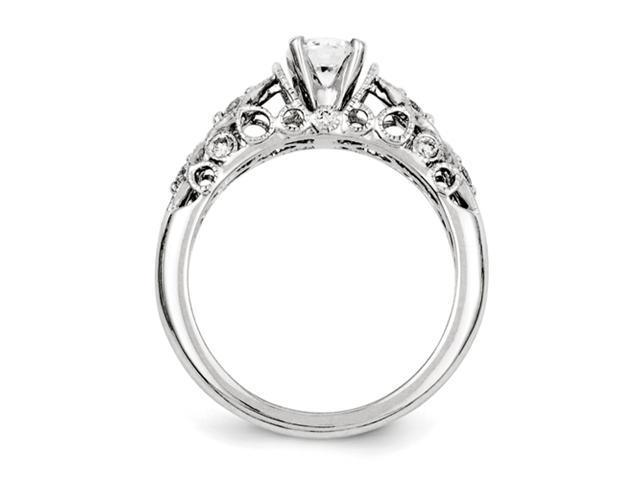 14k White Gold Semi-mount Diamond Engagement Ring Diamond quality AA (I1 clarity, G-I color)