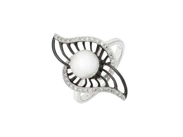 14K White Gold Freshwater Pearl Diamond Ring (SI2-I1 clarity, G-I color)