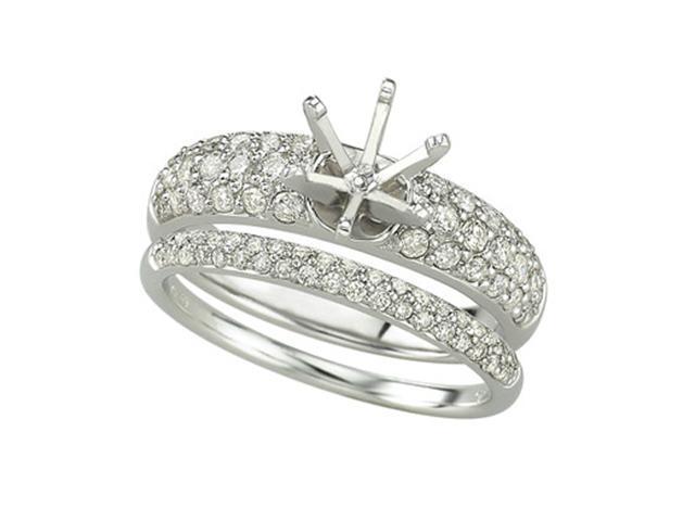 14K White Gold Diamond Semi-Mount Ring (SI2-I1 clarity, G-I color)