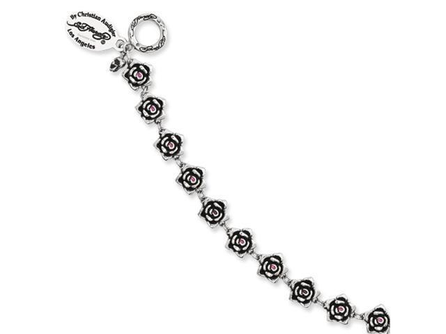 Stainless Steel Designer's Roses w/Red CZ  7.5in Toggle Bracelet