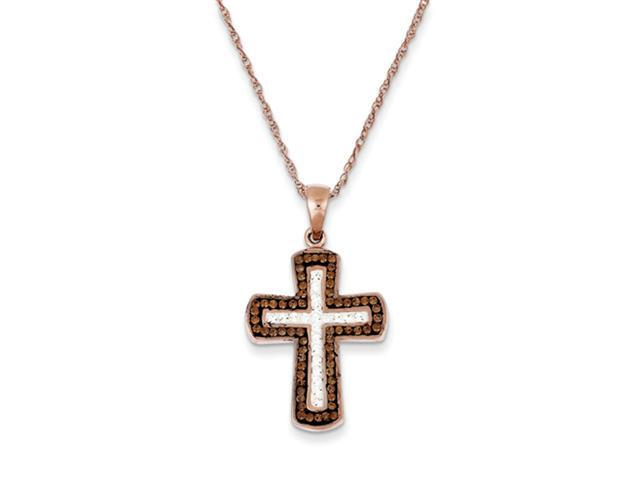 Sterling Silver Rose Gold Plated Stellux Crystal Cross Necklace