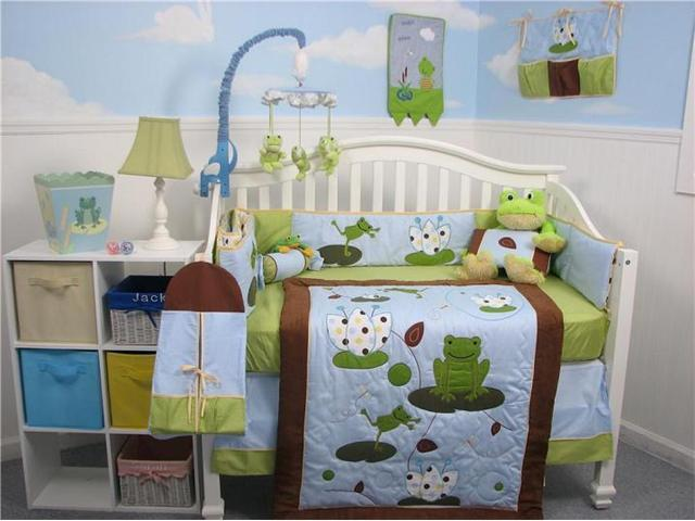 SoHo Designs Froggies Party Baby Crib Nursery Bedding Set 14 pcs included Diaper Bag with Changing Pad, Accessory Case & Bottle Case