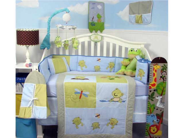 SoHo Designs SoHo Adorable Froggy Baby Crib Nursery Bedding Set 14 pcs included Diaper Bag with Changing Pad, Accessory Case & Bottle Case