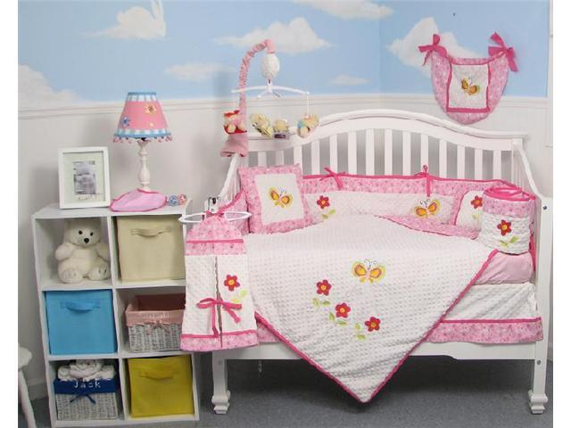 SoHo Designs Butterflies Garden Baby Crib Nursery Bedding Set 14 pcs included Diaper Bag with Changing Pad, Accessory Case & Bottle Case