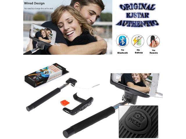 original kjstar wired selfie stick z07 7 for iphone android phone bla. Black Bedroom Furniture Sets. Home Design Ideas