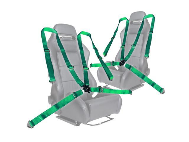 "Pair of Green Seat Belt Harnesses, 2"" Inches Wide, 4 Point Camlock Cam Lock"
