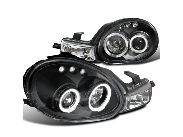 Dodge Plymouth Neon Black Dual Halo Led Projector Headlights Parking Lights 1Pc