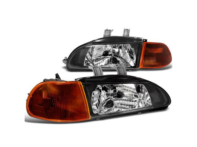 Honda Civic Dx Ex 4 Dr Black Headlights, Smoked Amber Corner Signal Lights