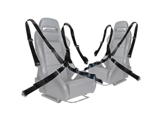 "Pair of Black Seat Belt Harnesses, 2"" Inches Wide, 4 Point Camlock Cam Lock"