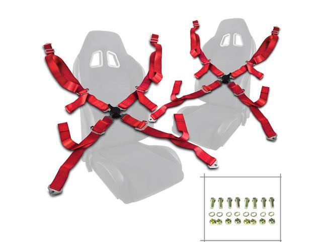 "Pair of Red Seat Belt Harnesses, 2"" Inches Wide, 4 Point Camlock Cam Lock"