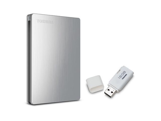 Toshiba Canvio Slim II 1.0 TB Portable Hard Drive with 16GB USB Flash Drive
