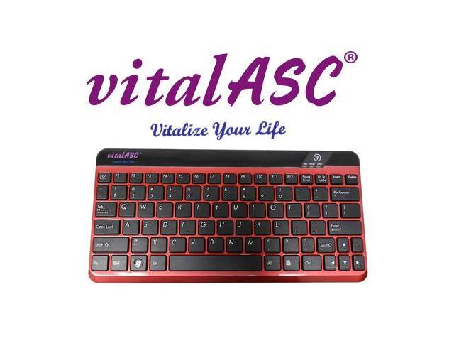 VitalASC 10KA iPad Windows Android Rechargeable Slim Bluetooth Keyboard - Red (Windows 10 Compatible)