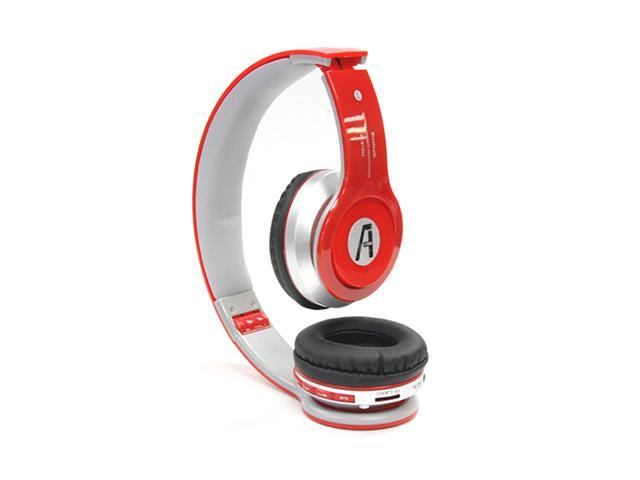 A1-Tech Wireless Bluetooth Stereo Headset with Mic and FM Radio - Red For iPhone 5 iPhone 6 iPad Galaxy S5 S4 Note 2 3