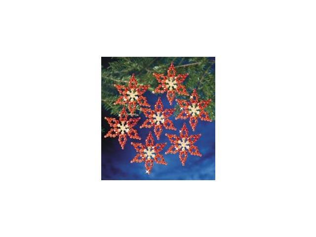 Holiday Beaded Ornament Kit-Poinsettias 3.5