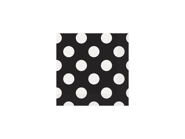 Luncheon Napkins 16/Pkg-Midnight Black Decorative Dots