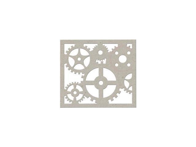 Die-Cut Grey Chipboard Embellishments-Cog Border 6.5