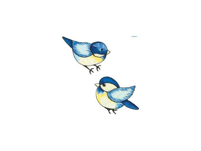 Wrights Iron-On Appliques-Blue Birds 1-3/4