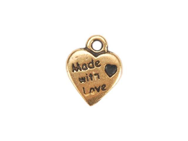 Metal Charms 1/Pkg-Gold Made With Love Heart