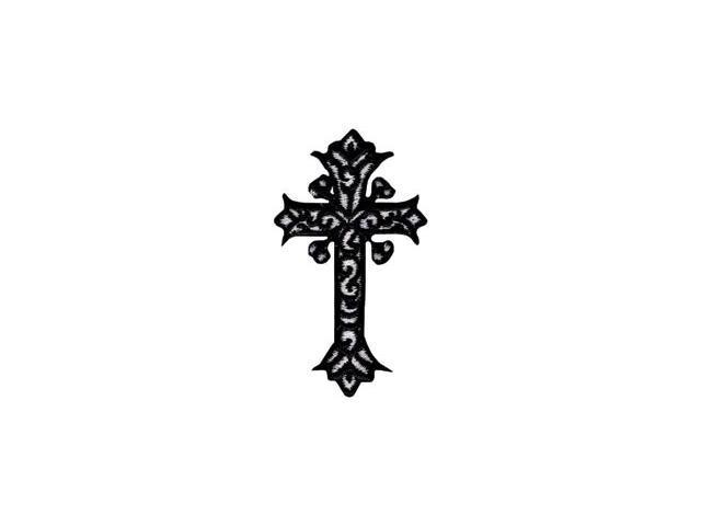 Bold Faith Iron-On Appliques-Black & White Cross 1/Pkg