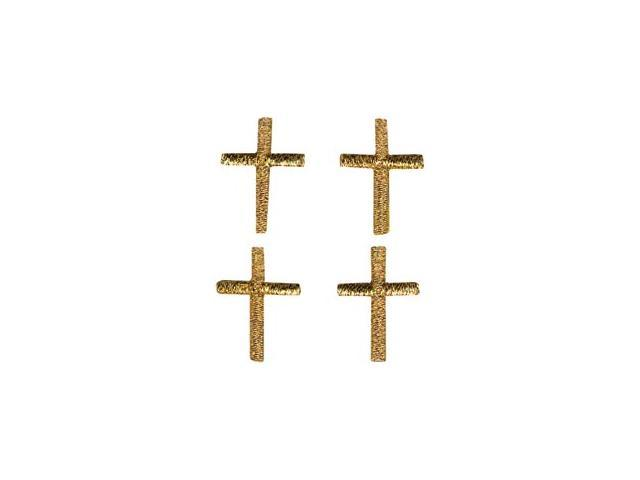 Bold Faith Iron-On Appliques-Metallic Mini Gold Cross 4/Pkg