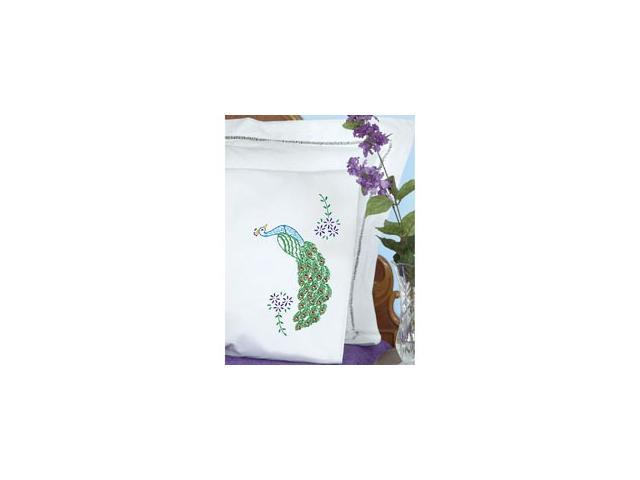 Stamped Pillowcases with White Perle Edge 2/Pkg-Peacock