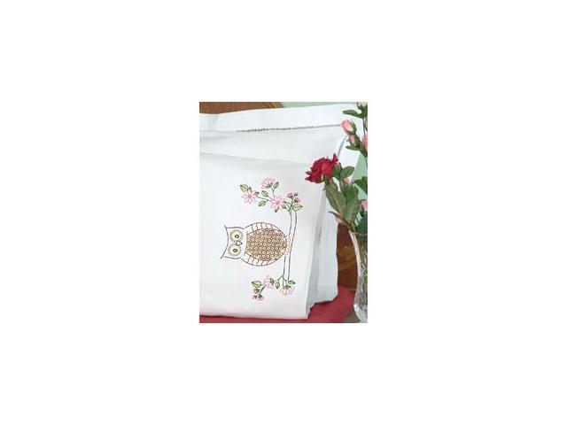 Stamped Pillowcases with White Perle Edge 2/Pkg-Chicken Scratch Owls