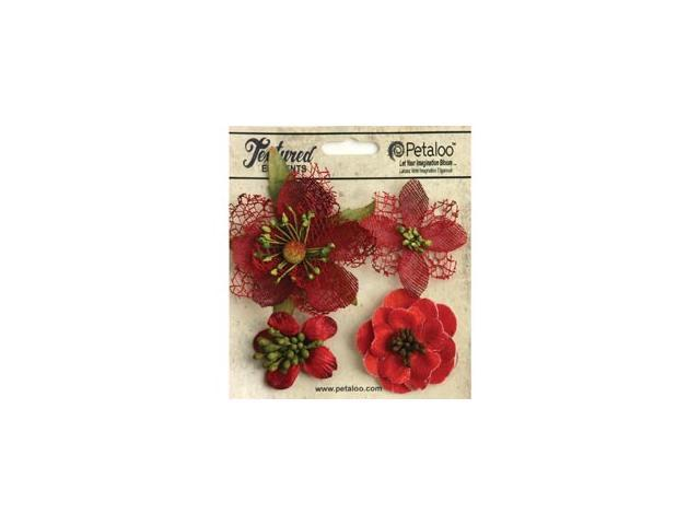 Mixed Textured Blossoms 4/Pkg-Red