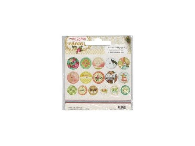 Postcards From Paris II Self-Adhesive Chipboard Buttons 16Pk-With 6 Feet Of Twine