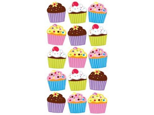 Sticko Classic Stickers-Vellum & Glitter Bright Cupcakes