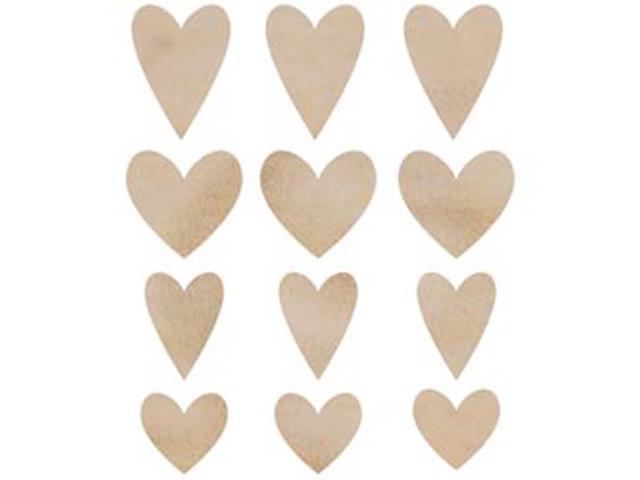 Wood Flourishes 12/Pkg-Hearts