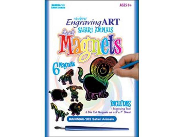 Rainbow Engraving Art Magnets-Safari Animals