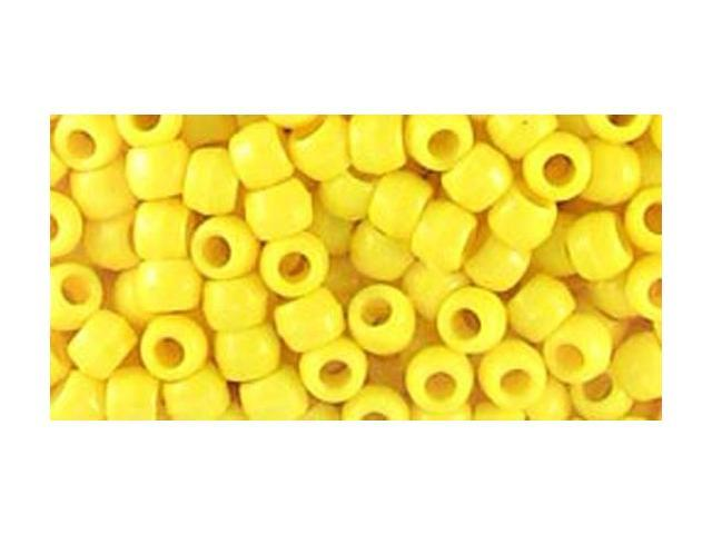 Pony Bead Big Value Pack 9mm 1000/Pkg-Opaque Lemon