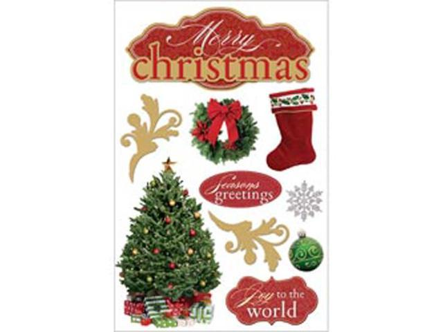 Paper House 3-D Sticker-Merry Christmas