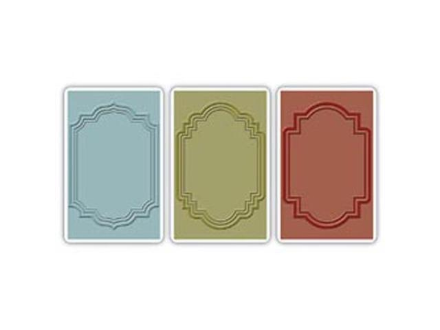 Sizzix Texture Trades Embossing Folders 3/Pkg By Tim Holtz-Outline Labels