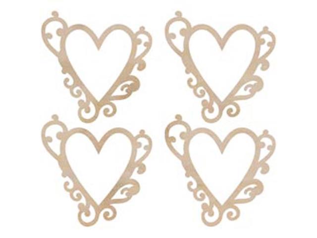 Wood Flourishes 4/Pkg-Flourish Hearts