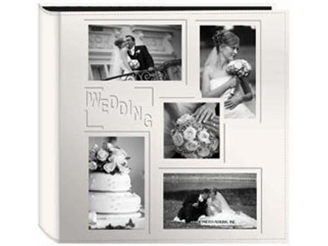 5-Up Collage Frame Sewn Embossed Photo Album -Ivory