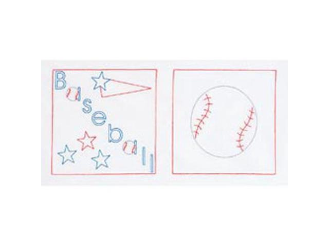 Stamped White Sport-Themed Quilt Blocks 14