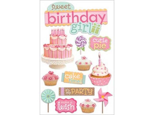 Paper House 3-D Sticker-Sweet Birthday Girl